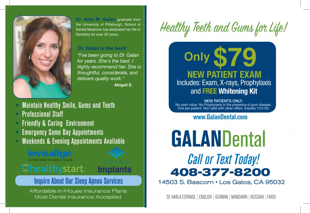 Galan Dental direct mail postcard by san jose direct mail advertising