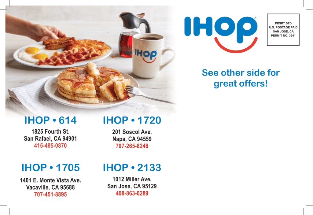 ihop back direct mail postcard by san jose direct mail advertising